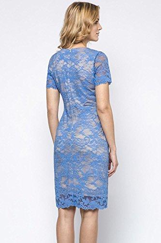 230141 Spitze Geblümt Dame Ausschnitt Kleid V Geblümt Blau Midi Ennywear EU HqdIH