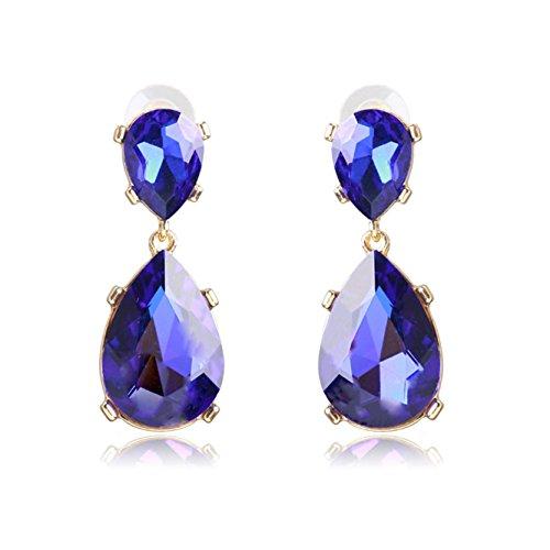 Unicra Vintage Blue Teardrop Crystal Earring Studs Wedding Bridal Chandelier Long Dangle Earrings for Women and Girls ()