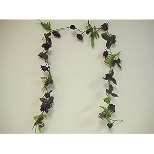 Phoenix Silk 4 Garlands PURPLE Small Roses Artificial Silk Flower 5.5 ft Vines 002PU 76