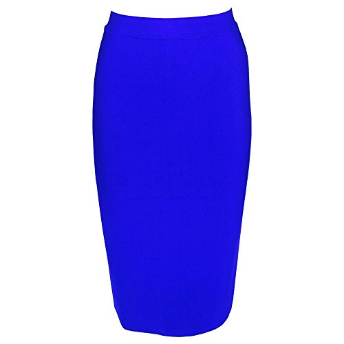 Skirt Waist Pencil Tab (YoungG-3D Women Knee Length Black Simple Solid Rayon Knitted Bandage High Waist Sexy Pencil Skirt Blue M)