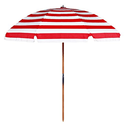 Style Turning Joint - 7.5 ft.Steel Commercial Grade Beach Umbrella with Ash Wood Pole & Carry Bag
