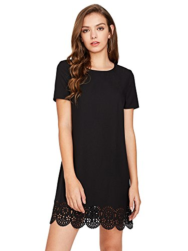 SheIn Women's Crew Neck Short Sleeve Hollow Shift Dress Medium - Mini Shift Dress