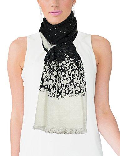Dahlia Women's 100% Merino Wool Pashmina Scarf - Snow Cover Forest - Black