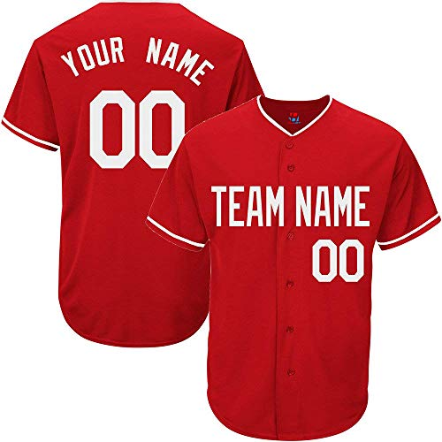 Red Custom Baseball Jersey for Men Women Youth Practice Embroidered White