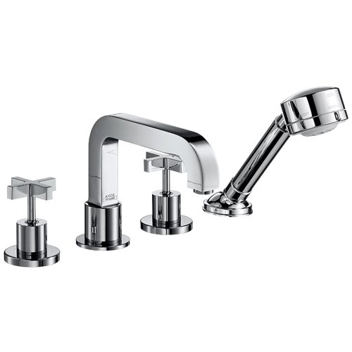 Axor 39453001 Citterio 4 Hole Roman Tub Trim with Cross Handle in Chrome - Axor Citterio Handshower