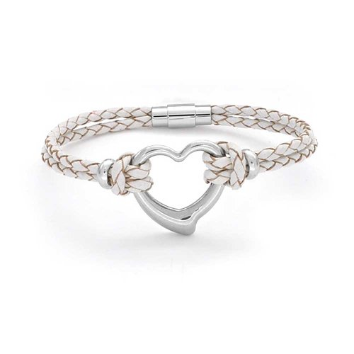 Bling Jewelry Open Heart White Woven Weave Thin Braided Cord Multi Strand Leather Bracelet for Women for Girlfriend Silver Tone -