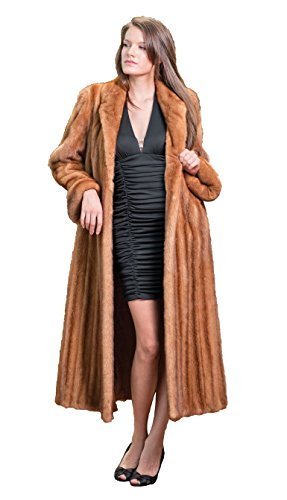 Very Finest Full Length Mink Fur Coat with Shawl Collar & Rollback Cuffs(Mahogany,14)