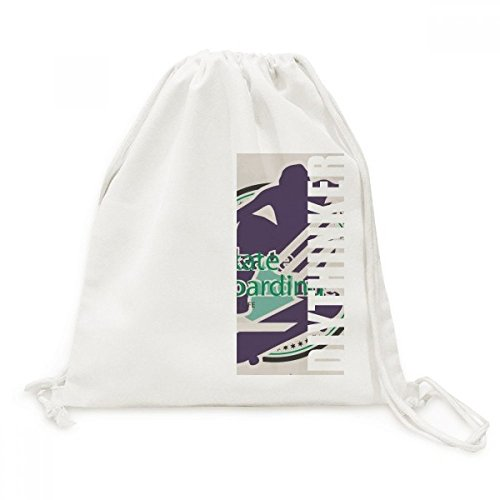 Extreme Sports Athletes Skate Boarding Illustration DIYthinker Canvas Drawstring Backpack Travel Shopping Bags by DIYthinker