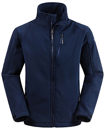 Wantdo Men's Outdoor Fleece Softshell Stand Collar Jacket for Climbing Navy M