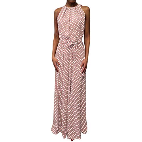 (HJuyYuah Women Casual Summer Dot Printed Sleeveless Beach Dress Sundress Pink)