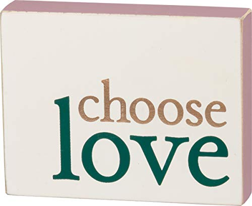 (Chose Love Positive Message Decorative Block Sign Green Cream Off-White Pink and Gold)