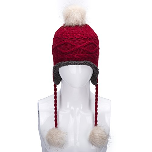 Kids Beanie Red (Brecoy Winter Hats For Baby Toddler Kids Soft Warm Earflap Pom Fleece Lined Cable Beanie Hat)