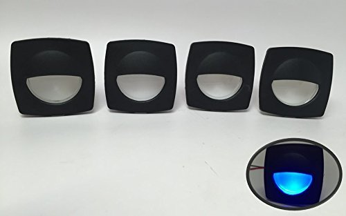 4 Pieces Pactrade Marine Boat LED RV Trailer Blue Square Shape Courtesy Light 2.24x2.24