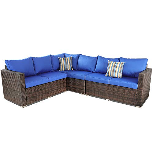 Leaptime Outside Rattan Sofa Patio Furniture PE Rattan w/Cushion Outdoor Conversation Seating Pool Deck Couch Brown Wicker Royal Blue Cushion