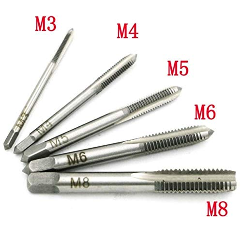 Maslin 5PCS/Set HSS Hand Tap M3 M4 M5 M6 M8 Tap & Die Machine Spiral Point Straight Fluted Screw Thread Metric Plug Hand Tools - (Color: Silver) ()