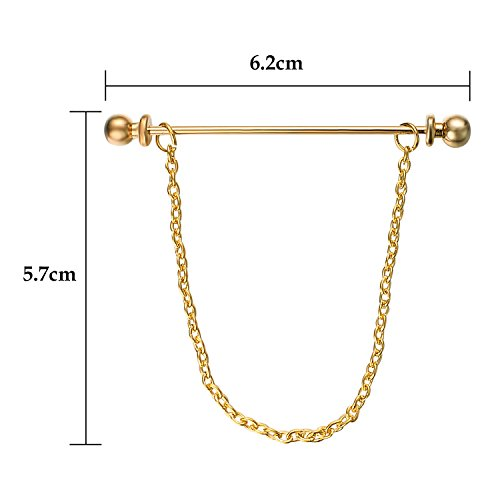 Yoursfs Chain Tie Pin 18K Gold Plated Tie Clip for Men Single Loop Tie Pins and Clips (Tie Chain) by Yoursfs (Image #1)