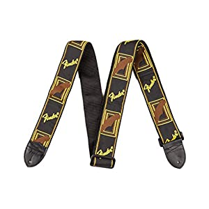 "Fender Guitar Strap Monogrammed 2"" Black / Yellow / Brown"