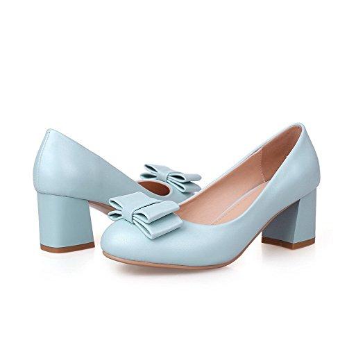 Odomolor Damen Rein PU Leder Mittler Absatz Rund Zehe Ziehen auf Pumps Schuhe Blau