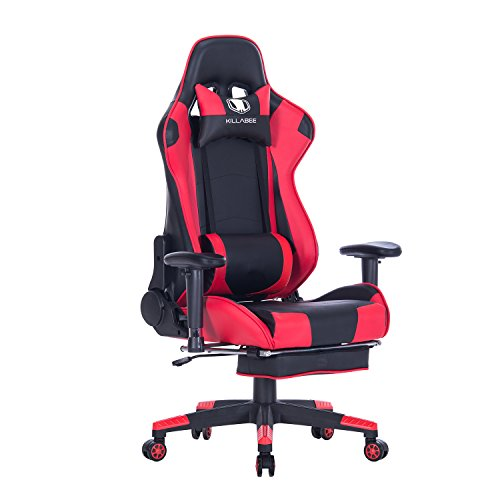 KILLABEE Big and Tall 350lb Massage Memory Foam Gaming Chair - Adjustable Massage Lumbar Cushion, Retractable Footrest and 2D Arms High Back Ergonomic Racing Computer Desk Leather Office Chair (Red)