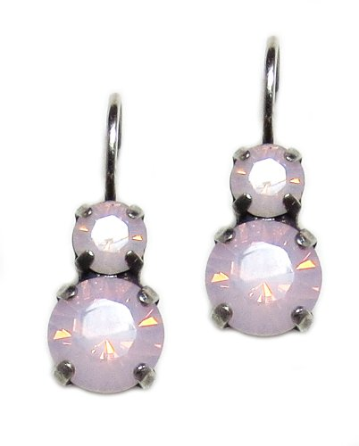 Mariana Silver Plated Petite Round Rose Water Opalescent Crystal Drop Earrings (Petite Earrings Crystal)
