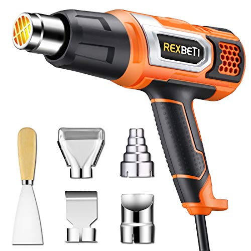 - REXBETI 1800W Heat Gun, Portable Hot Air Gun 140℉-1210℉ with 2 Air Flow, Fast Heating in Seconds, 5 Accessories for Heat shrink tubing, Wrapping Drying Painting, Over-heat Protection