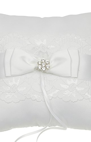 Venus Jewelry Lace Crystal Flower Bow Wedding Ring Bearer Pillow 7 Inch x 7 Inch - White RP003W