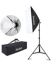 Studio Softbox Iluminación Kit Fotografía, Raleno 50x70cm Equipo de Iluminación Continuo con 1x 135W Bombilla, 1x Softbox, 1x Trípode Montaje Universal, 1x Bolsa de Tela