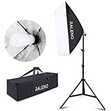 RALENO Softbox 20''x28'' Photography Lighting Professional Photo Studio Equipment with 85W E27 Socket 5500K Video Light Bulb for Filming Portraits Shoot