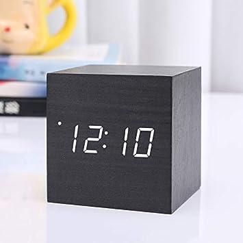 Reloj digital de madera con mini reloj despertador Cube, Reloj de ...