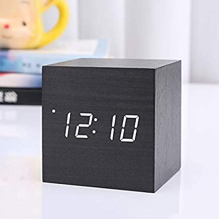 Horloge num/érique en bois avec mini r/éveil cube horloge de table LED USB//batterie aliment/ée par la nuit horloge d/écoration pour la maison 60x60x60mm D#