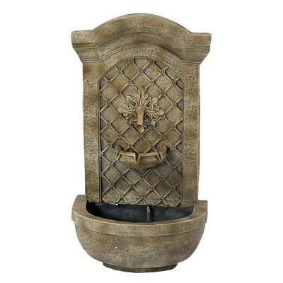 Sunnydaze Rosette Solar Wall Fountain, Florentine Stone, Solar On Demand  Feature
