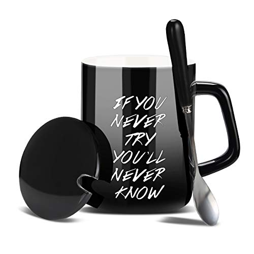 Funny Coffee Mug 14 oz - If You Never Try You Will Never Know - Large Unique Ceramic Novelty Coffee Mugs with Lid Spoon,Holiday Hanukkah Christmas Gift Mug Who Love Tea or Coffee Cup ... (Black)