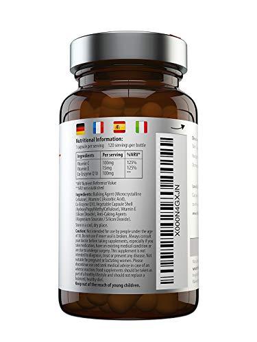 Coenzima Q10 100 mg, 120 cápsulas de alta absorción | CoQ10 de calidad superior con vitamina C y E para aumento de Co-Q10 5