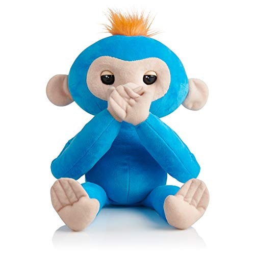 Plush Blue Monkey - Fingerlings HUGS - Boris (Blue) - Advanced Interactive Plush Baby Monkey Pet - by WowWee