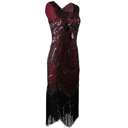Vijiv Long Prom 1920s Vintage Gatsby Bead Sequin Art Nouveau Deco Flapper Dress, Wine Red, Large