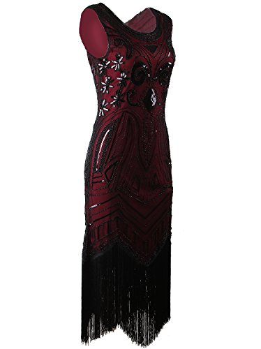 Other Wine Furniture - Vijiv Long Prom 1920's Vintage Gatsby Bead Sequin Art Nouveau Deco Flapper Dress, Wine red, S
