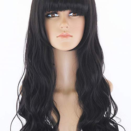 Wig High Temperature Silk Anime Long Hair Volume Female Big Wave Qi Liu Hai Face Black Wig Headgear ()