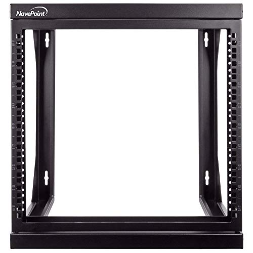 NavePoint 9U Wall Mount IT Open Frame 19 Inch Rack with Swing Out Hinged Gate Black ()