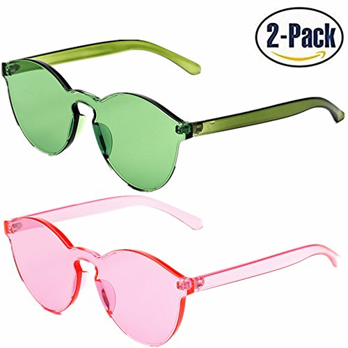 JOJO'S SECRET One Piece Rimless Sunglasses Transparent Candy Color Women Sunglasses JS017 (Green+ Pink, 2.3) Plastic Women Sunglasses