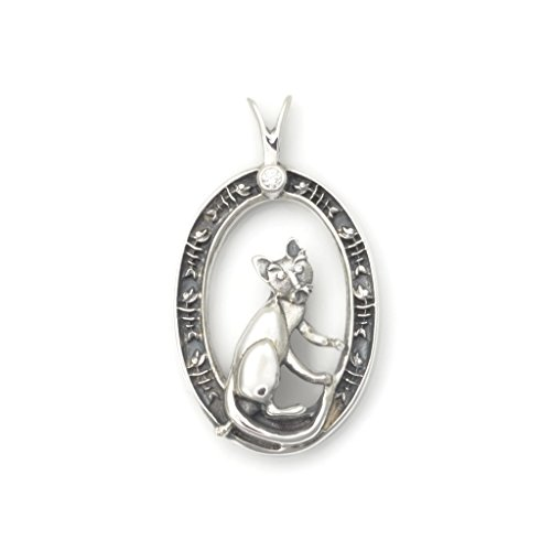 Sterling Silver Whimsical Cat (Sterling Silver Cat Pendant, Diamond Cat Necklace fr Donna Pizarro's Animal Whimsey Collection of Fine Cat Jewelry)