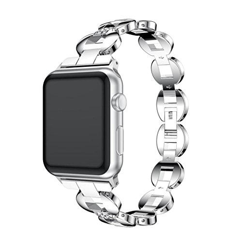 GBSELL Fashion Alloy Crystal Link Bracelet Watch Band Strap for Apple Watch Series 3 38MM (Silver) (Crystal Bracelet Link Watch)