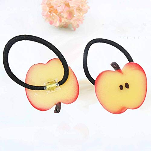 Fashion Hairbands Fruit slices Cute Girl Hair Accessories Elastic Hair Tie Rope (Size - 3-Red Apple)