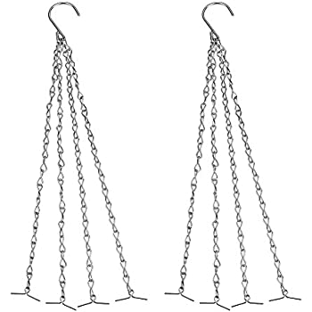 SIENOC 2 Packs 4 Point Garden Planter Flower Pot Basket Replacement Iron Hanging Chain