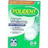 Polident Overnight Whitening, Antibacterial Denture Cleanser, Triple Mint Freshness 84 ea (Pack of 3)