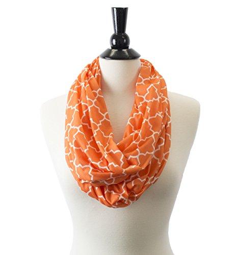 [Pop Fashion Womens Infinity Scarf w/ Zipper Pocket & Pattern Print, Infinity Scarves (24.5 x 9.5,] (Kids Greek Outfit)