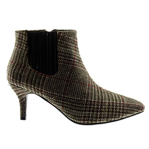 Boots high Ankle Boots Women's Brown Gingham Elastic Low Trendy Boots cm Chelsea Heel Booty Fashion Stiletto Shoes Angkorly 7 1I6wxtq8S6