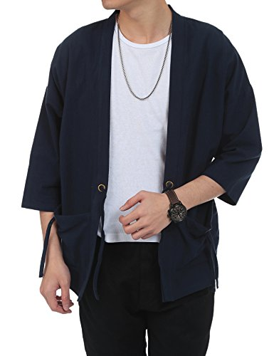 Weight Linen (Coofandy Men's Lightweight Cotton Linen Blend Jacket Vintage Cloak Open Front Cardigan)