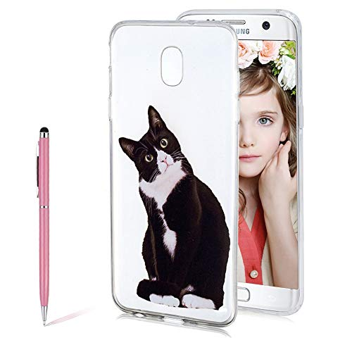 SKYXD 3D Creative Standing Black Kitten Pattern Design Transparent Flexible Soft TPU Silicone Bumper Protective Case Ultra Thin Clear Scratch Resistant Full Shockproof Cover for Samsung Galaxy J7 2018 (Standing Kitten)