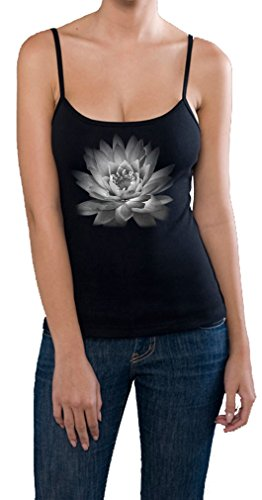 Yoga Clothing For You Ladies Lotus Flower Built-in Bra Spaghetti Tank, XL Black For Sale