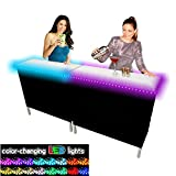 PartyPongTables.com Portable Folding Party Bar w/ LED Lights (Black & Hawaiian Bar Skirts) - Double Set